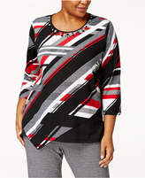 Alfred Dunner Plus Size Embellished Multi-Stripe Top