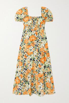 Faithfull The Brand + Net Sustain Rene Shirred Floral-print Cotton-poplin Midi Dress - Orange