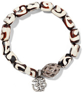 Loree Rodkin Oxidized Sterling Silver, Wood And Diamond Bracelet - Cream