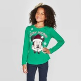 Disney Girls' Minnie Mouse Flip Sequin Christmas Holiday Long Sleeve T-Shirt -