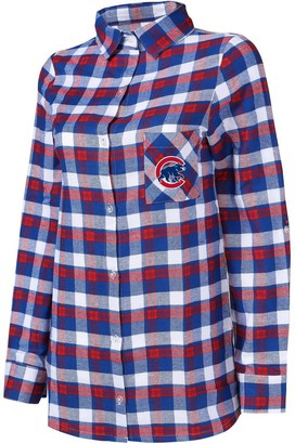 Women's Concepts Sport Royal/Red Chicago Cubs Plus Size Piedmont Flannel Nightshirt