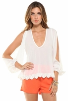 Lovers + Friends Daydream Slit-Sleeve Blouse in White