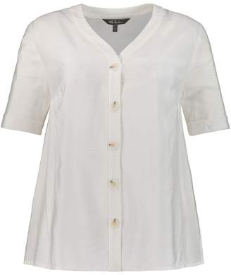 Ulla Popken Draping V-Neck Blouse with Buttons and Short-Sleeves