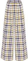 ADAM by Adam Lippes Pleated Plaid Cotton Wide-leg Pants - US2