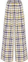 ADAM by Adam Lippes Pleated Plaid Cotton Wide-leg Pants - Yellow