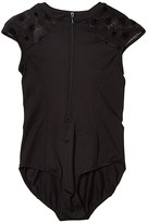 Bloch Zip Front Cap Sleeve Leotard (Little Kids/Big Kids) (Black) Girl's Jumpsuit & Rompers One Piece