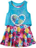 Nannette Toddler Girl Flower Dress & Detachable Slubbed Tank Top Popover Set