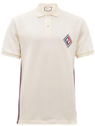 Gucci Logo-patch Cotton-blend Polo Shirt - Mens - White Multi