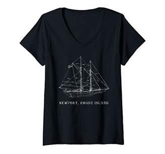 Womens Sailing T-Shirt Vintage Blueprint Newport