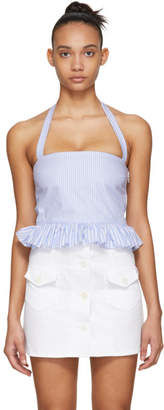 RED Valentino Blue and White Striped Halter Top