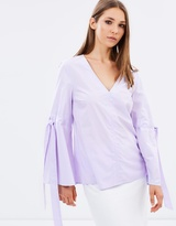 Warehouse Cotton Tie Sleeve Top