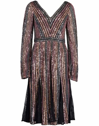 Marchesa Long Sleeve V-Neck Striped Sequin Cocktail Dress