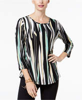 JM Collection Petite Printed Shirttail Top, Created for Macy's