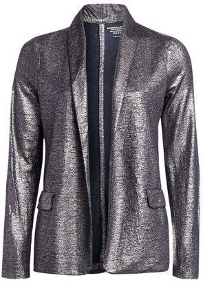 Majestic Filatures Metallic Linen-Blend Shawl Collar Blazer