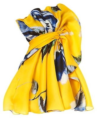 Carolina Herrera Ruffle Silk Mini Dress