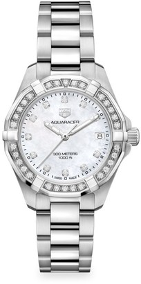 Tag Heuer Aquaracer 32MM Stainless Steel, Diamond & Mother-of-Pearl Quartz Bracelet Watch