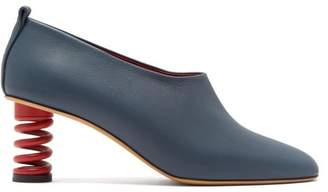 Gray Matters - Molla Spring Heel Leather Pumps - Womens - Navy Red