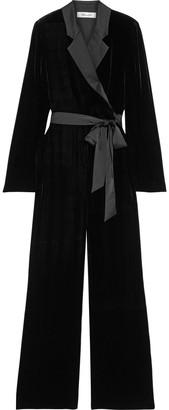 Diane von Furstenberg Monica Wrap-effect Satin-trimmed Velvet Wide-leg Jumpsuit