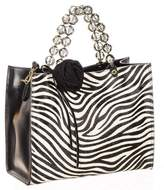 Black Zebra Print Calf Hair and Leather Tote