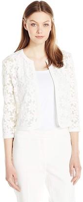 Anne Klein Women's Floral Lace Mesh Cardigan