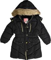 KensieGirl Black Faux Fur-Trim Puffer Coat - Girls