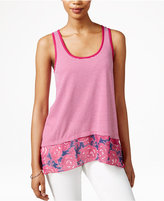 Maison Jules Floral-Print Contrast Tank Top, Only at Macy's