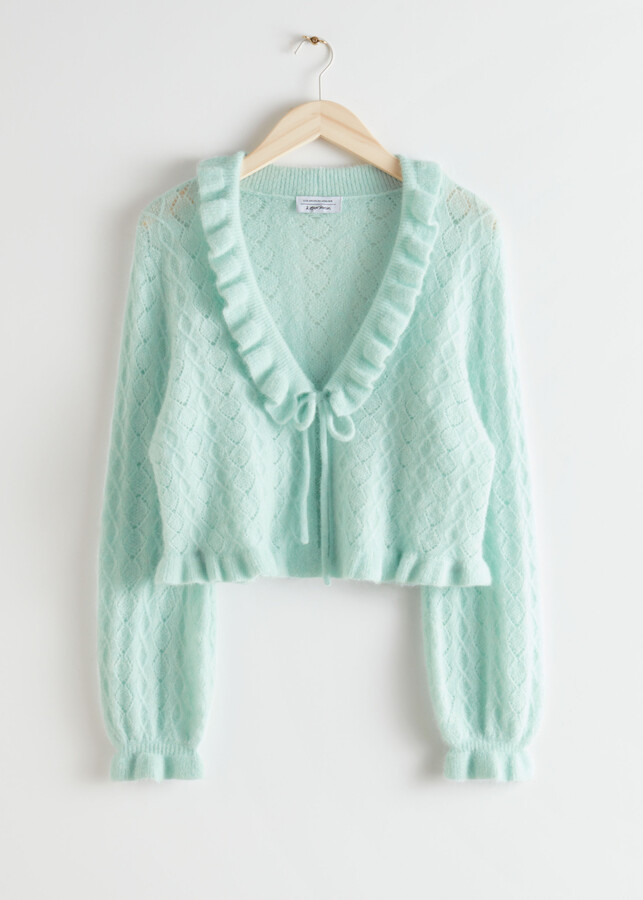 Thumbnail for your product : And other stories Ruffled Alpaca Blend Knit Cardigan