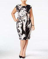 Connected Plus Size Floral Faux-Wrap Sheath Dress