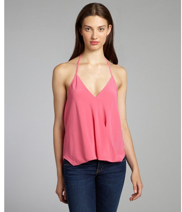 Chelsea Flower flamingo silk surplice crossover halter blouse