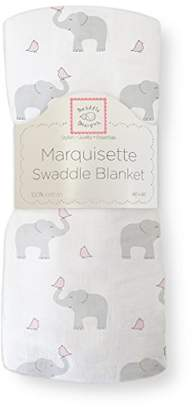 Swaddle Designs Marquisette Swaddling Blanket, Premium Cotton Muslin, Elephant & Chickies, Pastel Pink