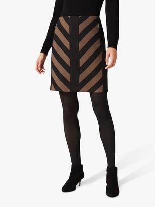 Phase Eight Mirren Chevron Skirt, Black/Camel