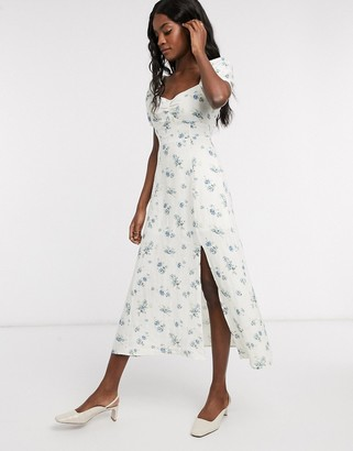 And other stories & floral printed smocked sweetheart midi dress in white