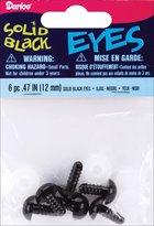 Darice Shank Back Solid Eyes 12mm 6/Pkg