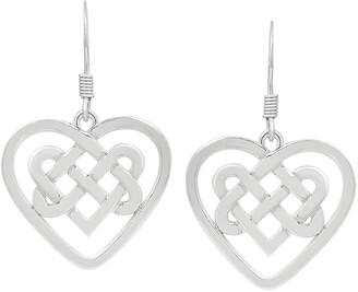 Tishavi Solid .925 Sterling Silver Heart Shape Celtic Knot Design Dangle Earrings For Women