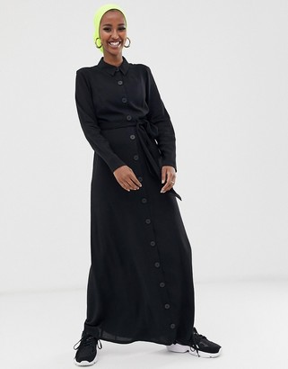 ASOS DESIGN long sleeve button through maxi dress with belt