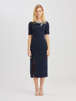 Oscar de la Renta Crystal Embroidered Wool Dress