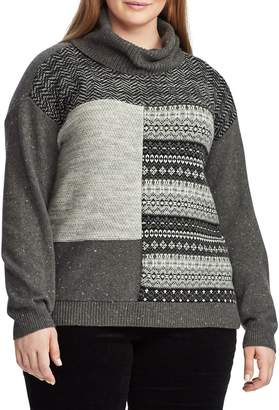Chaps Plus Patchwork Cowl Neck Sweater