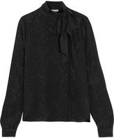 Tomas Maier Cosmic Metallic Printed Silk-georgette Blouse - Black