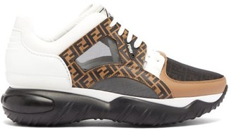 Fendi Exaggerated-sole Leather And Mesh Trainers - Black Multi