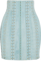 Balmain Lace-up Suede Mini Skirt - Sky blue