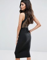 Wow Couture Bandage Midi Dress With High Neck and Lace Up Back