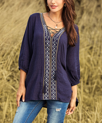Suzanne Betro Weekend Women's Tunics 101NAVY - Navy Embroidery-Accent Lace-Up Tunic - Women & Plus