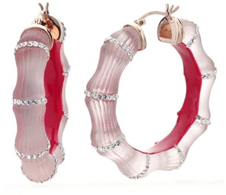 Pink Lucite Bamboo Hoops