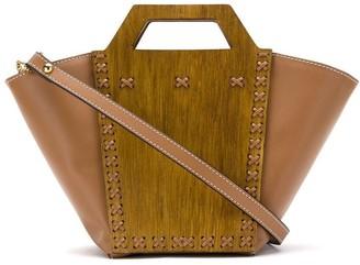 Framed wood paneled tote bag