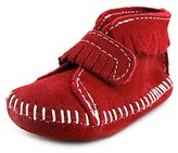 Minnetonka Vel Front Strap Infant Suede Red Moccasins.