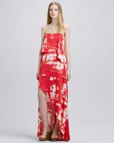 BCBGMAXAZRIA Tie-Dye Strapless Maxi Dress