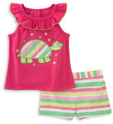 Kids Headquarters Baby Girls Baby Girls Two-Piece Turtle Top and Shorts Set