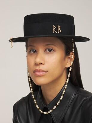 Ruslan Baginskiy Pearl-Embellished Felted Canotier Hat