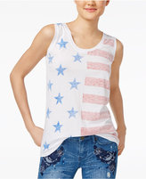Freeze 24-7 Juniors' Reverse-Print Stars & Stripes Graphic Tunic Tank
