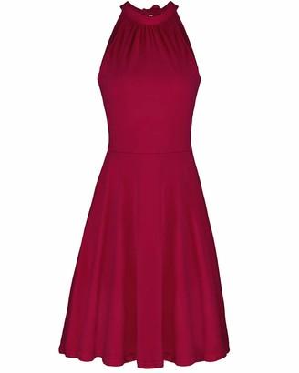 OUGES Women's Halter Neck Sleeveless Casual Cotton Flare Dress Wine XL